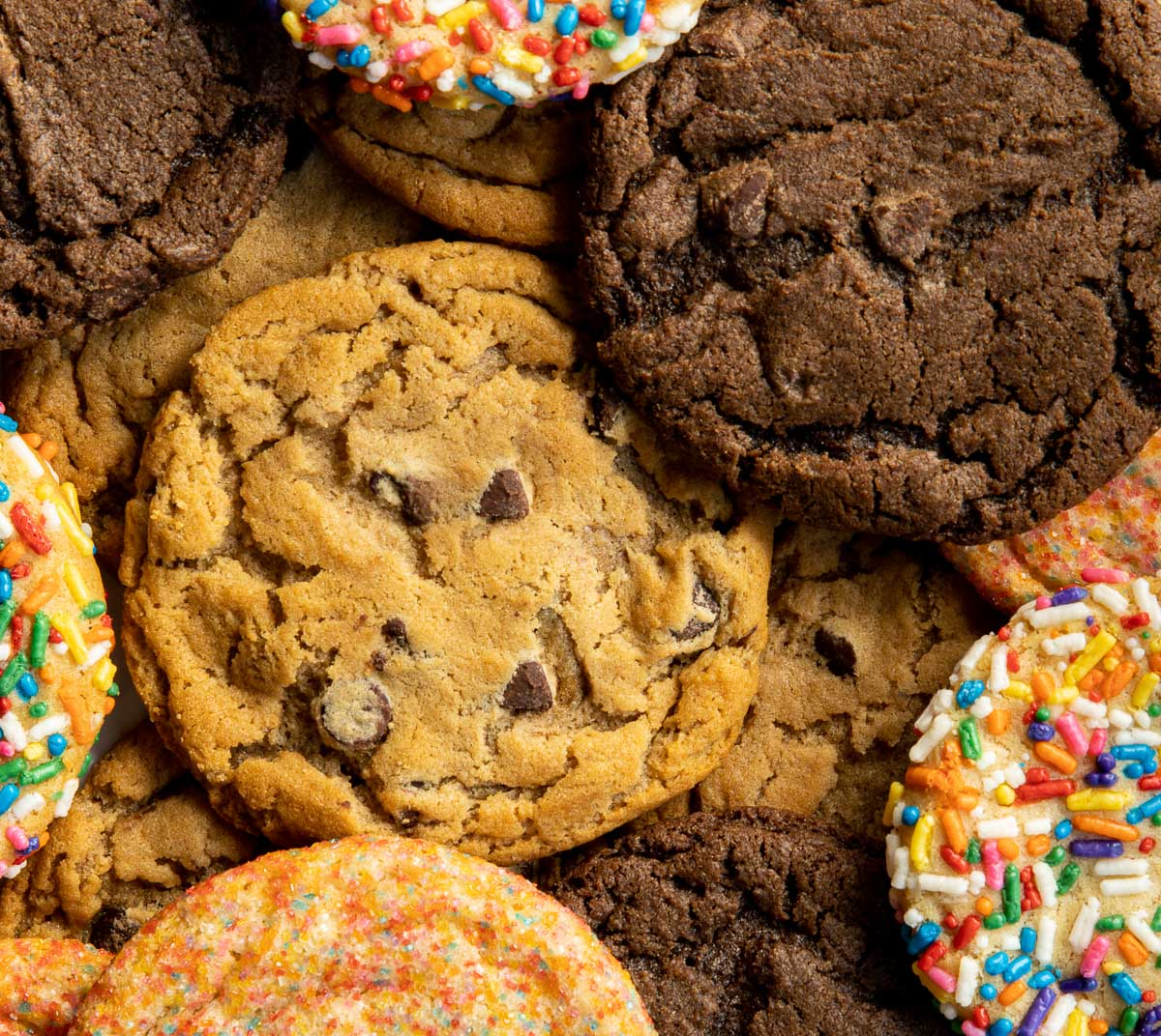 Picture of Assorted cookies including Original chocolate chip, Double fudge, Birthday cake, and Sugar cookies