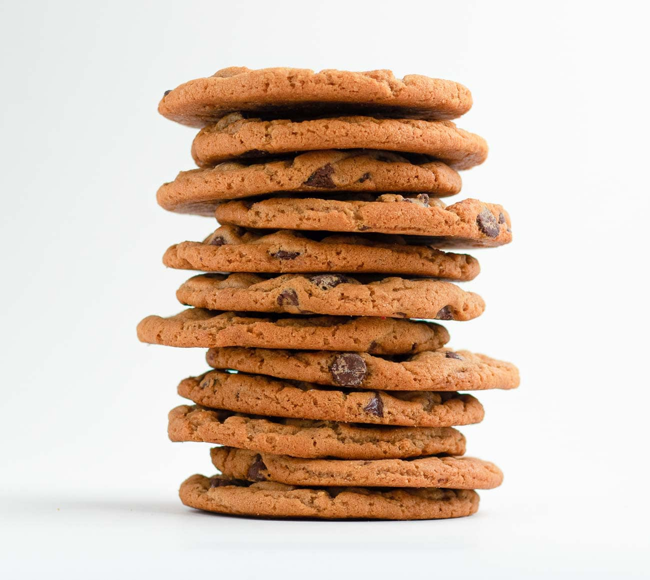 Picture of a dozen of Original Chocolate chip cookie stacked