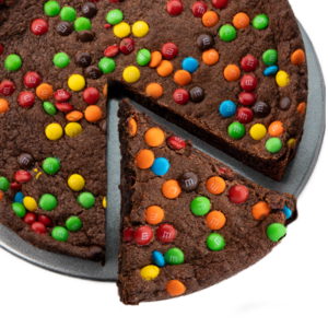 Picture of a slice of Deep Dish Brownie with M&Ms