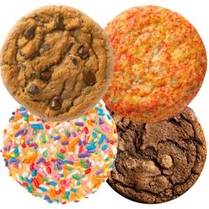 Picture of Assorted Cookies including Original Chocolate Chip, Sugar, Birthday Cake, and Double Fudge Cookies