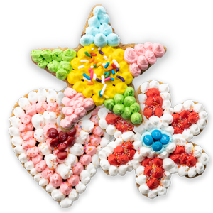 Decorated heart, star, and flower shaped cookies decorated with icing, m&m, sprinkles and sugar