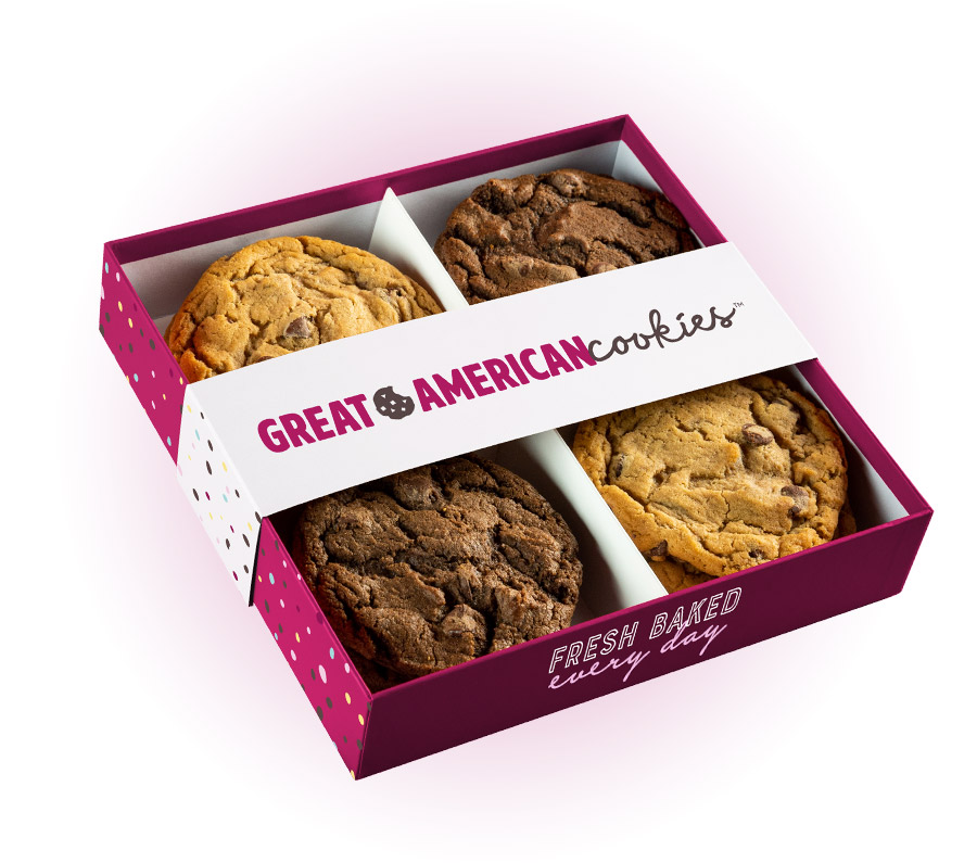 Picture of a box of a dozen original chocolate chip and double fudge cookies